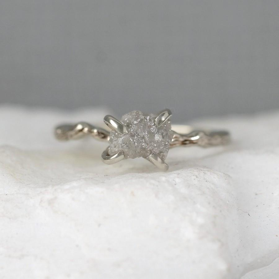 style uncut wedding media ring raw rings engagement diamond april rough birthstone sterling silver bezel vintage set
