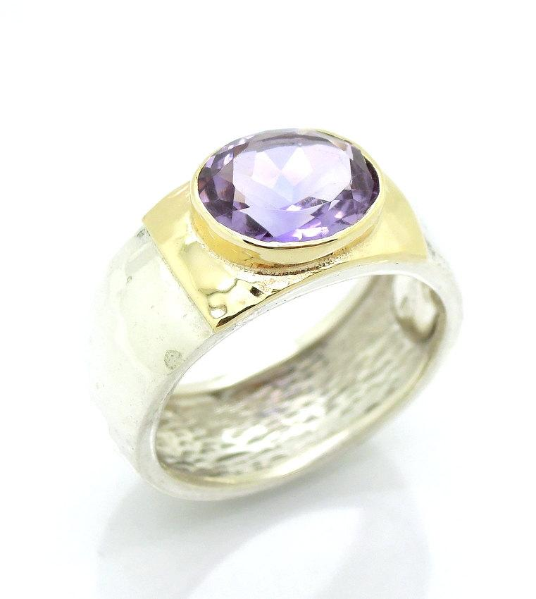 زفاف - Wide amethyst hammered silver and gold ring