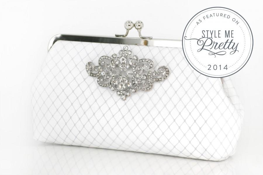 Hochzeit - White Bridal Clutch with Rhinestone Geometric Brooch (lace cross) 8-inch PASSION ARTDECO etsygift