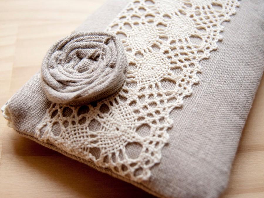 Wedding - 20 % OFF Christmas Sale, Handmade Wedding Clutch Purse, Linen Lace clutch purse, natural beige, bridesmaid gift idea, Rosette Lace