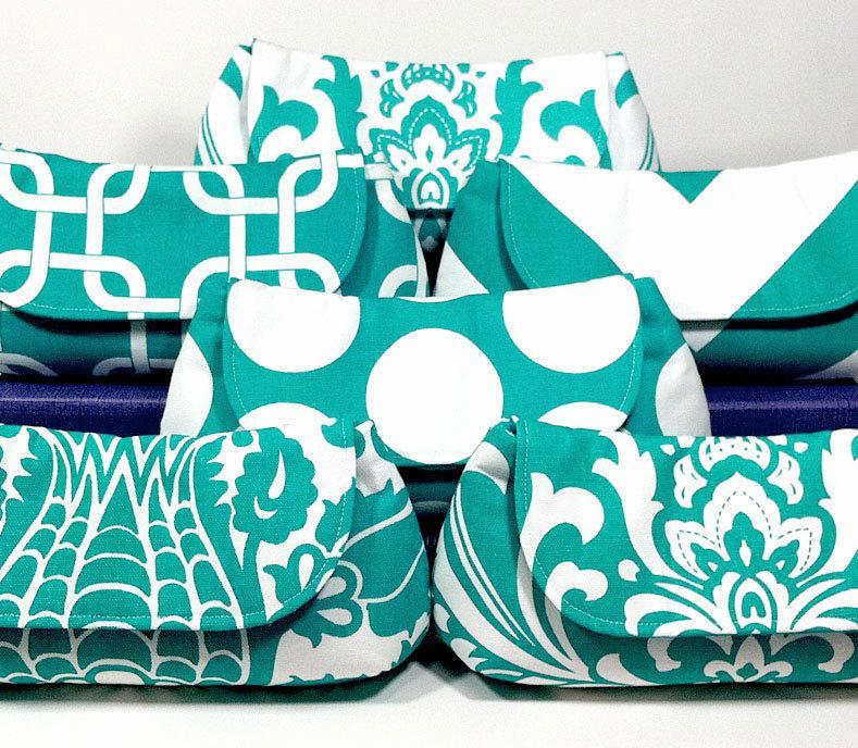 Mariage - Bridesmaid Clutches Choose Your Fabric Aqua Teal Turquoise Aquamarine Set of 6