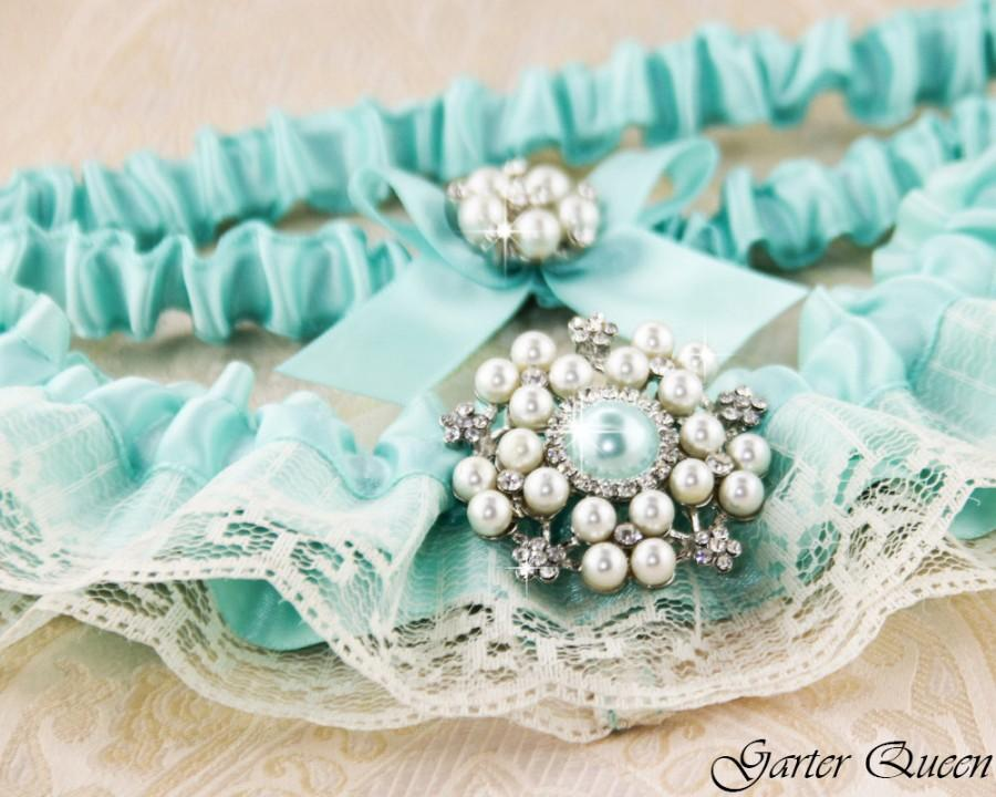 Bridal Garter Set SOMETHING BLUE Wedding Garter Set Heirloom Rhinestone And Crystal Garters