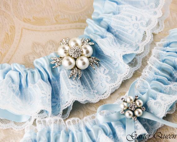 Mariage - Blue lace Wedding Garter, Lace Bridal Garter Set, Wedding garter set, Something Blue Bridal Garter set,