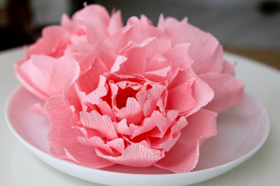 Свадьба - 3 pink Peonies - paper peonies - paper flowers -wedding centerpiece -cake topper- peonies centerpieces- bridal bouquet- wedding cake topper