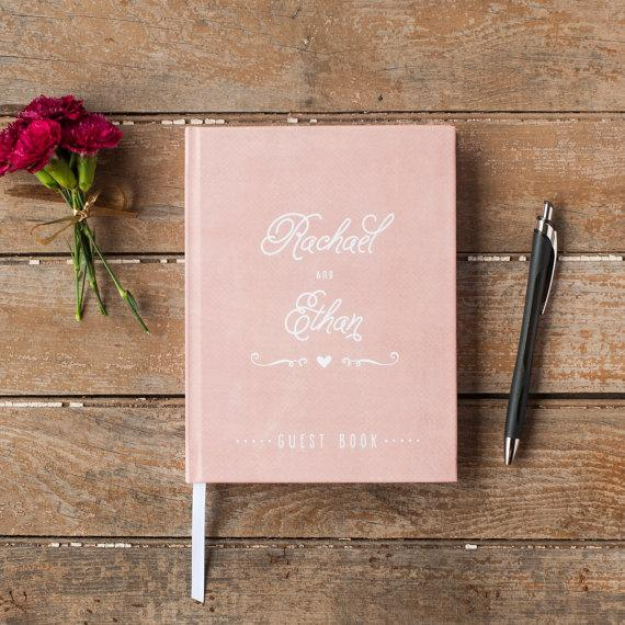 Wedding Guest Book Guestbook Custom Personalized Customized Design Rustic Gift Blush Pink C