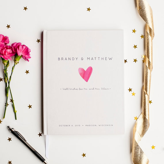 Wedding - Wedding Guest Book Wedding Guestbook Custom Guest Book Personalized Customized custom design wedding gift keepsake watercolor pink heart new