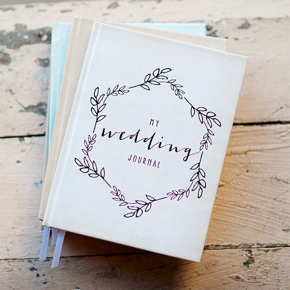 wedding journal notebook wedding planner personalized customized bridal shower guest book custom design calligraphy keepsake