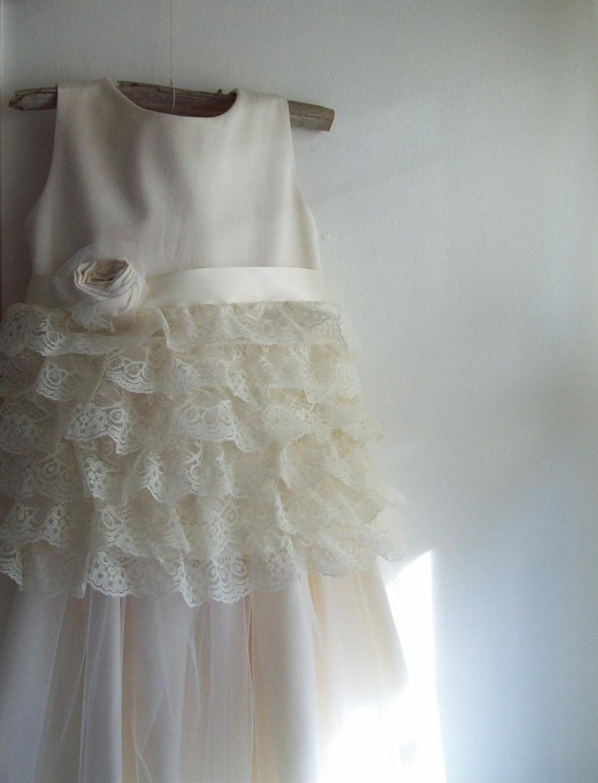 Vintage style flower girl dress natural organic cotton for Organic cotton wedding dress