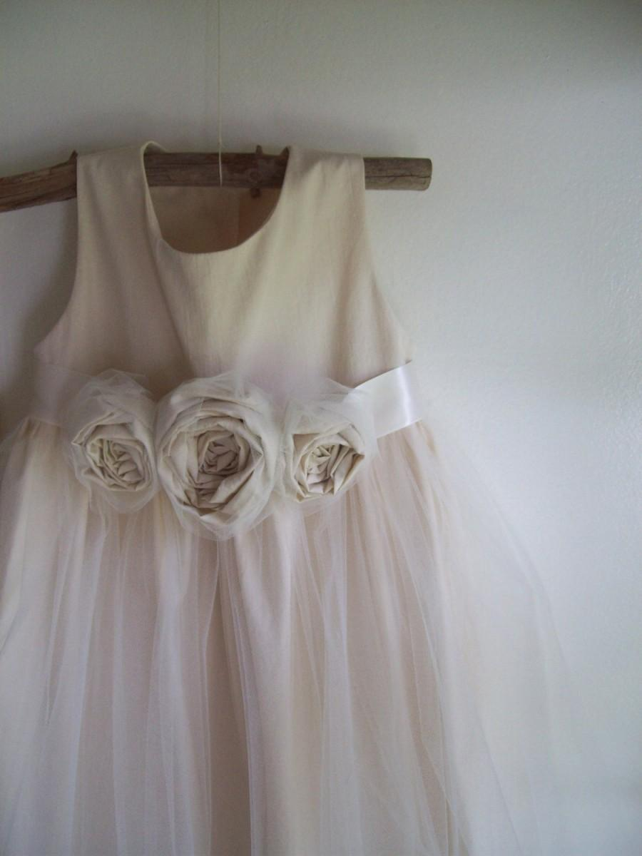 Boda - Vintage style Flower Girl Dress,  natural Organic cotton flower girl dress, lace flower girl dress, tulle flower girl dress