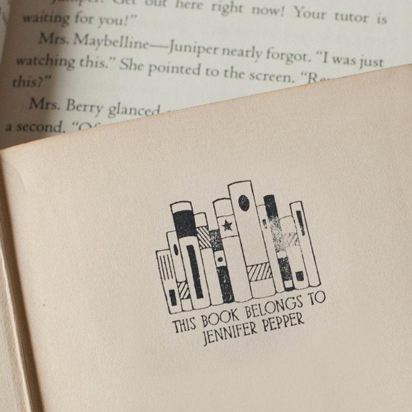 زفاف - Self-Inking BOOKPLATE stamp personalized library stamp - This book belongs to