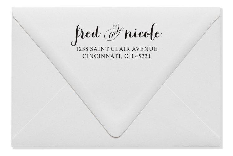 زفاف - Return Address Stamp - Custom Address Stamp - Self-Inking or Wood Handled (140)