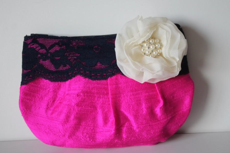 Mariage - Bridesmaid Clutch Purse - Perfect Bridesmaid Gift - Clutch Purse with Lace & Stardust Flower Brooch (choose your colours)
