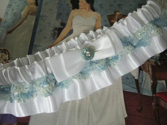 Свадьба - White and Blue Wedding Garter