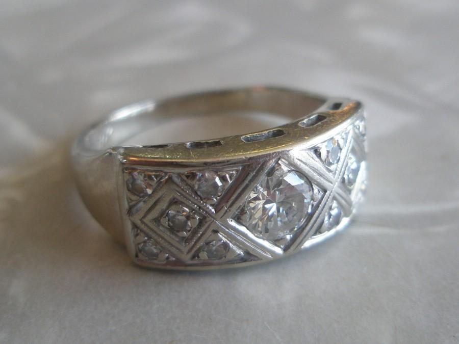 Mariage - Vintage Art Deco Women's 14k White Gold and 11 Diamond Ring Sz 8 12