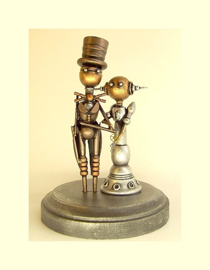 Mariage - Robot Wedding Cake Topper Elegant Space Princess Bride Groom Top Hat Tails Wood Steampunk Statues