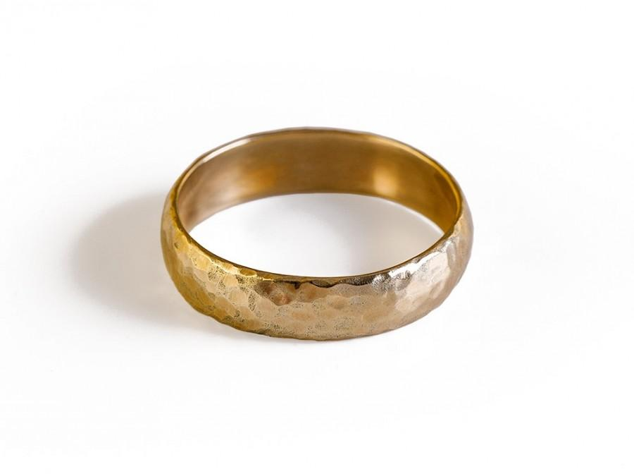 Mariage - Gold Wedding Band, Solid Gold Hammered Wedding Ring.