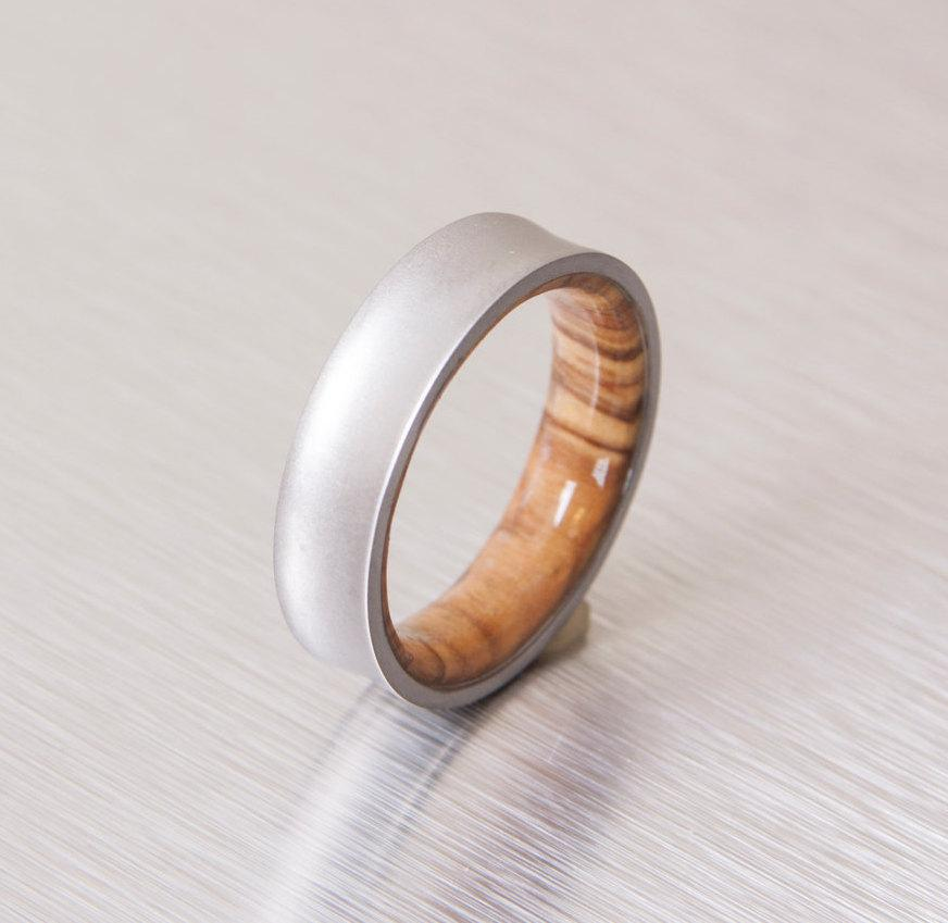 titanium and olive rings mens wood rings wood wedding band mens wedding band - Mens Wooden Wedding Rings