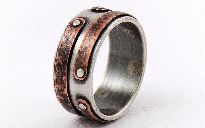 زفاف - Rustic copper engagement men's ring-wedding ring,unique engagement ring,anniversary ring,mens band ring,promise ring,rustic ring
