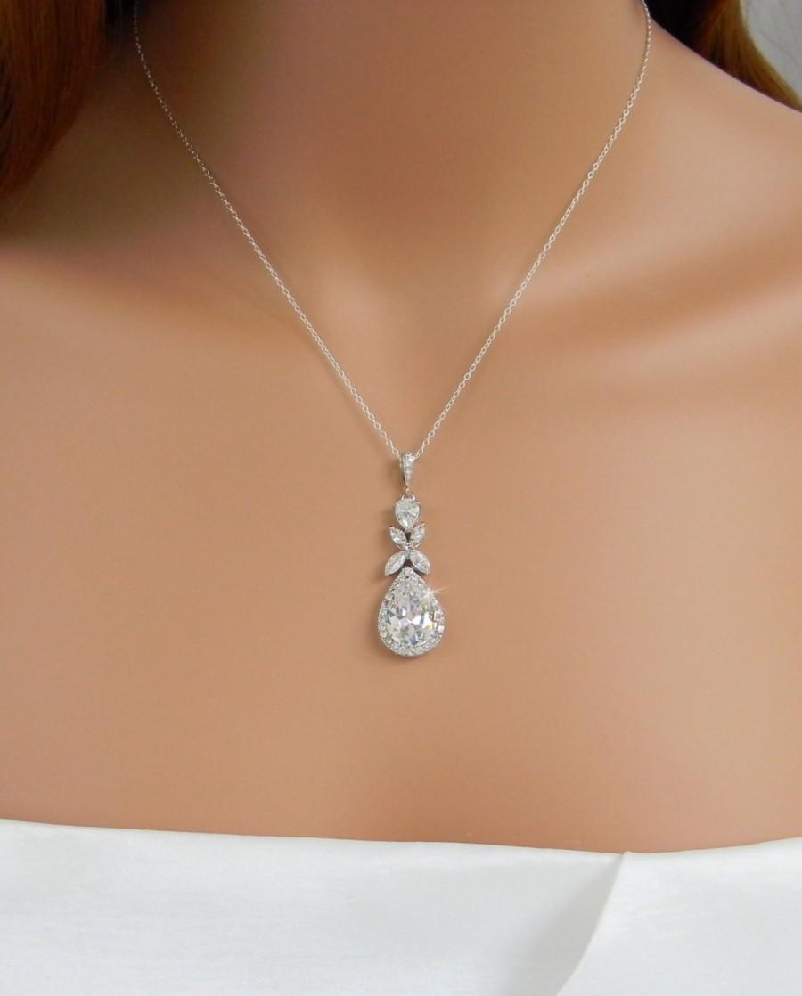 زفاف - Crystal Bridal Necklace, Rose gold Wedding Jewelry, Crystal Drop Bridal necklace Swarovski crystal Bridesmaids jewelry, Amielynn Necklace