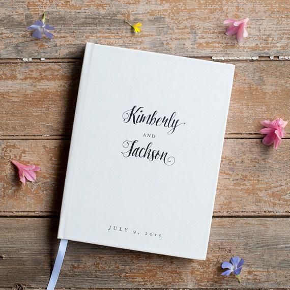 Wedding Guest Book Classic Wedding Guestbook Custom Guest Book
