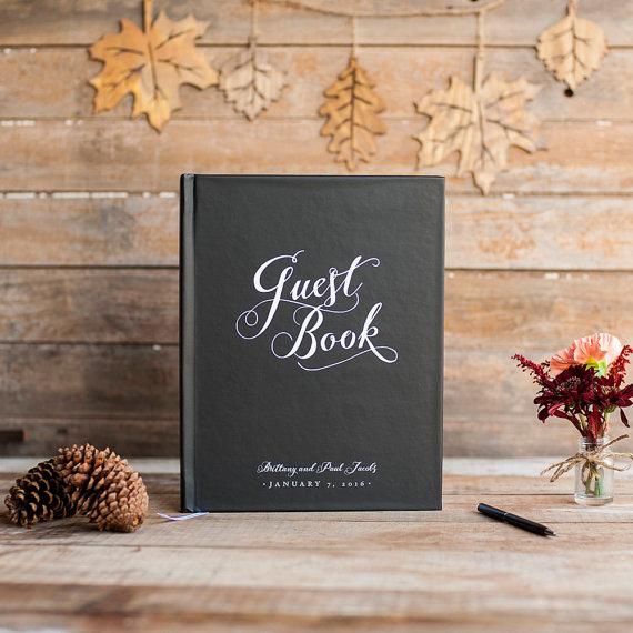 Wedding Guest Book Guestbook Custom Personalized Customized Rustic Keepsake Gift Elegant Black Tie Formal