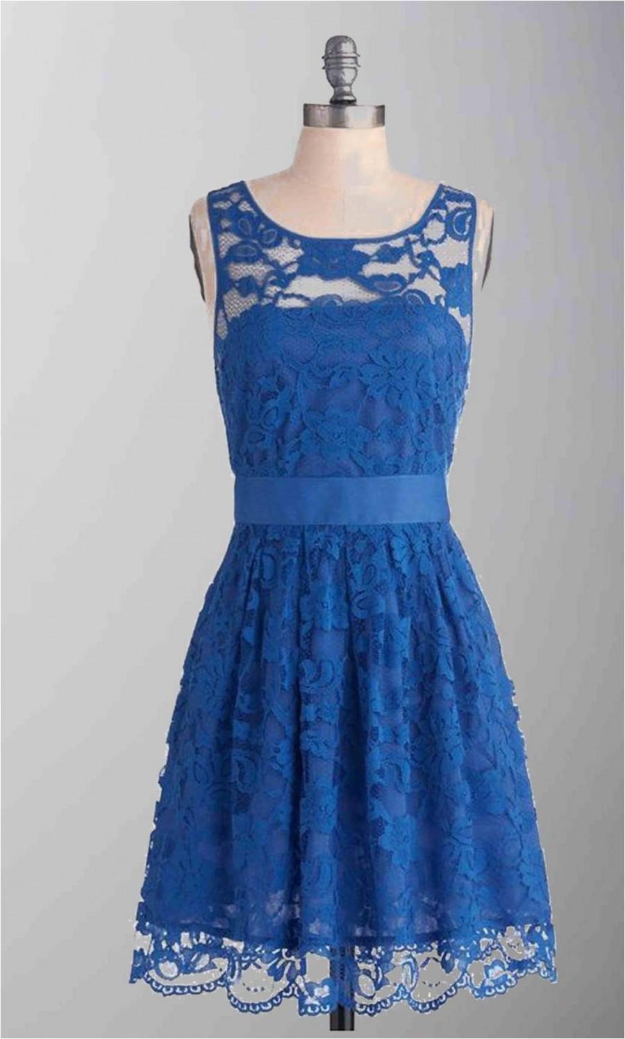 Blue lace short bridesmaid dress with sash ksp287 ksp287 Cheap lace wedding dresses uk
