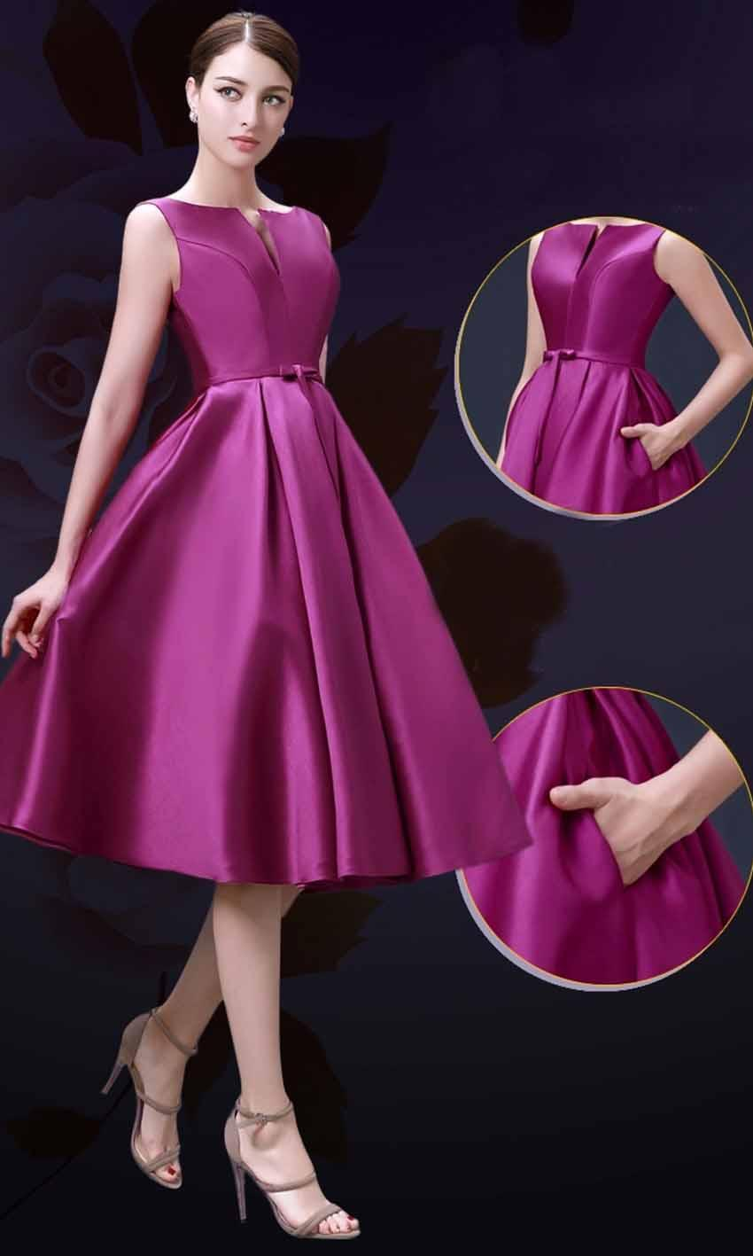 Elegance Slash Pocket Mid Length Formal Bridesmaid Dresses KSP357 ...