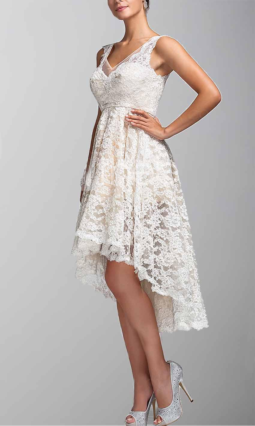 Ivory Lace V Neck High Low Bridesmaid Dresses Ksp256