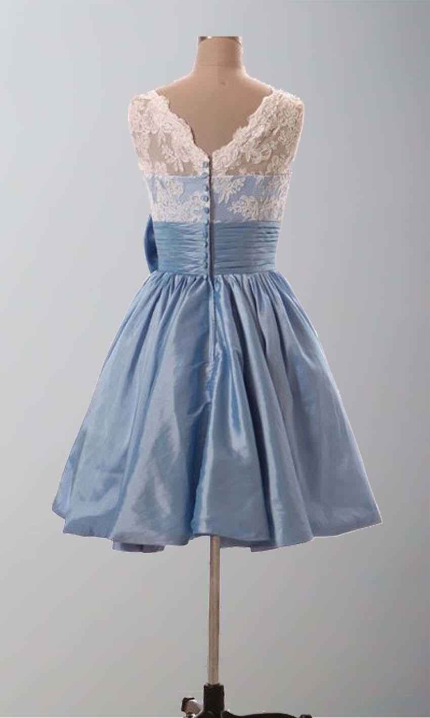 Lace vintage cute bow knot short bridesmaid dresses ksp289 Cheap lace wedding dresses uk