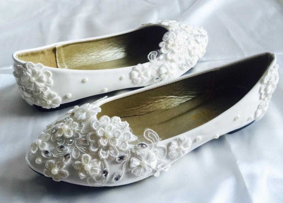 bb75313f675 White Wedding Flats,Bridal Ballet Shoes,Comfortable Flats,Shoes Flat ...