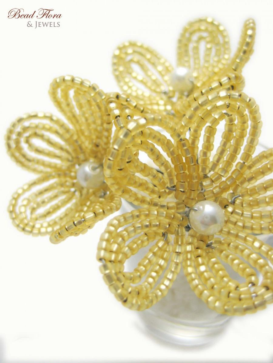 Свадьба - gold beaded flower hair pins- French beaded flowers for brides, bridesmaids, flower girls, autumn accessories
