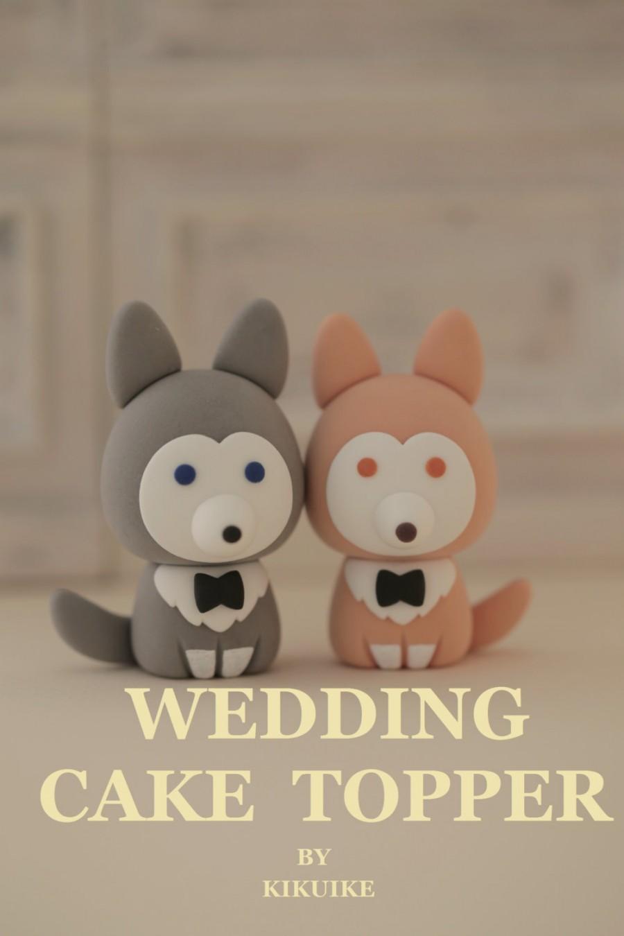 Hochzeit - wolf husky puppy wedding cake topper---k873