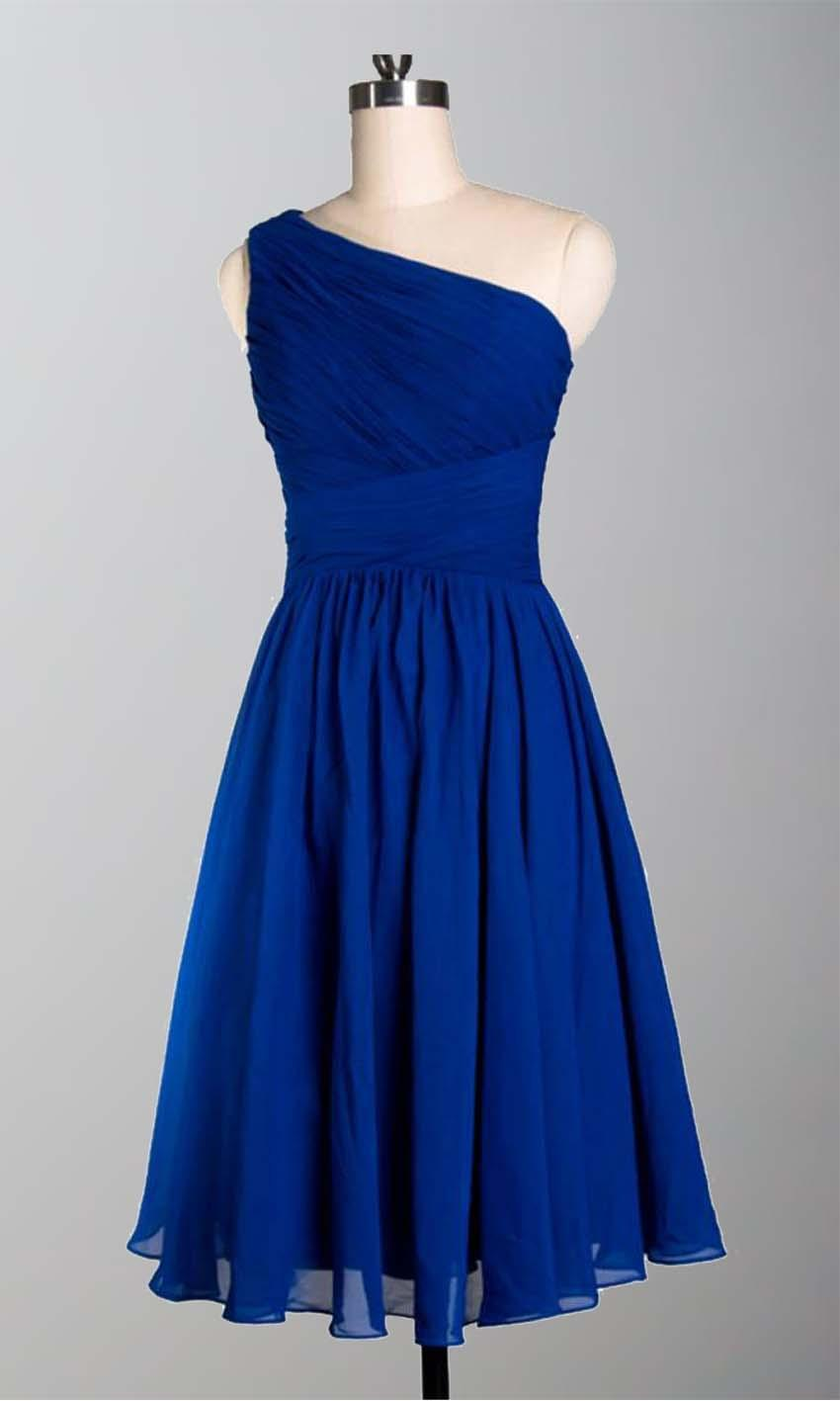 One shoulder simple slim short blue bridesmaid dresses for Simple elegant short wedding dresses