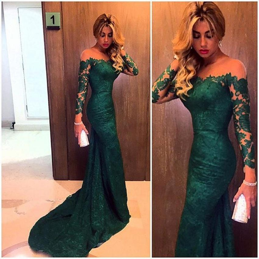 Mariage - Fashion 2015 Emerald Green Mermaid Lace Evening Dresses Custom Made Plus Size Long Sleeves Women Prom Dress Maxi Formal Wear Cheap Online with $121.41/Piece on Hjklp88's Store