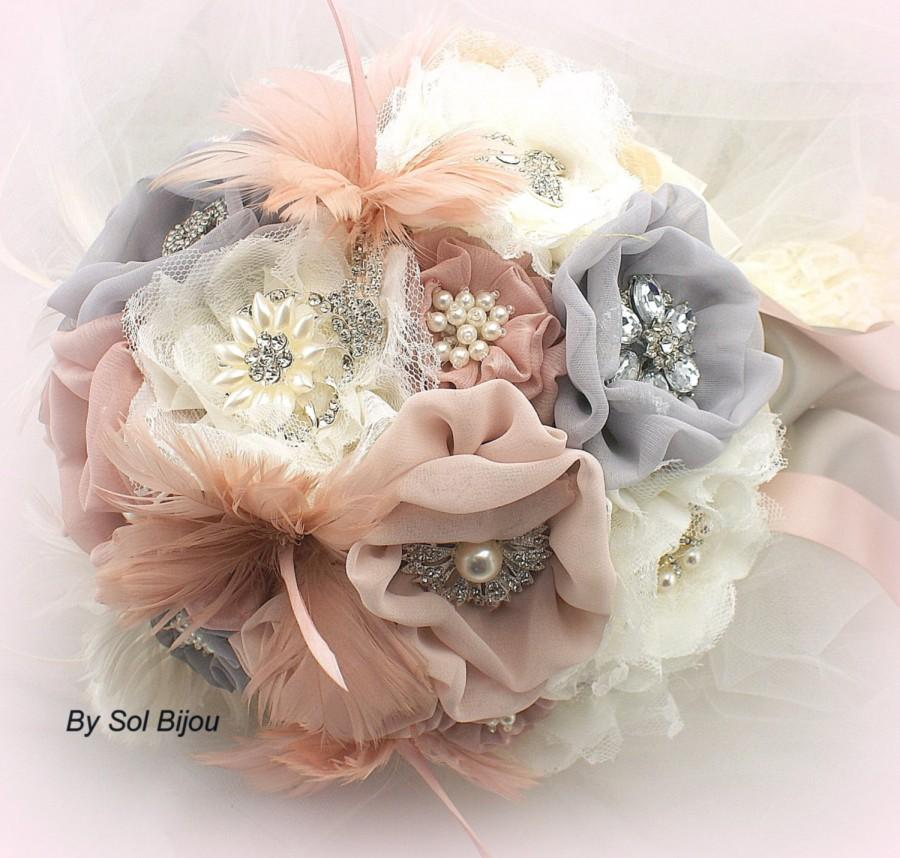 Pink And Gray Brooch Bouquet Ivory Blush Silver Dusty Rose Wedding Jeweled Feathers Lace Pearls Vintage Style Elegant