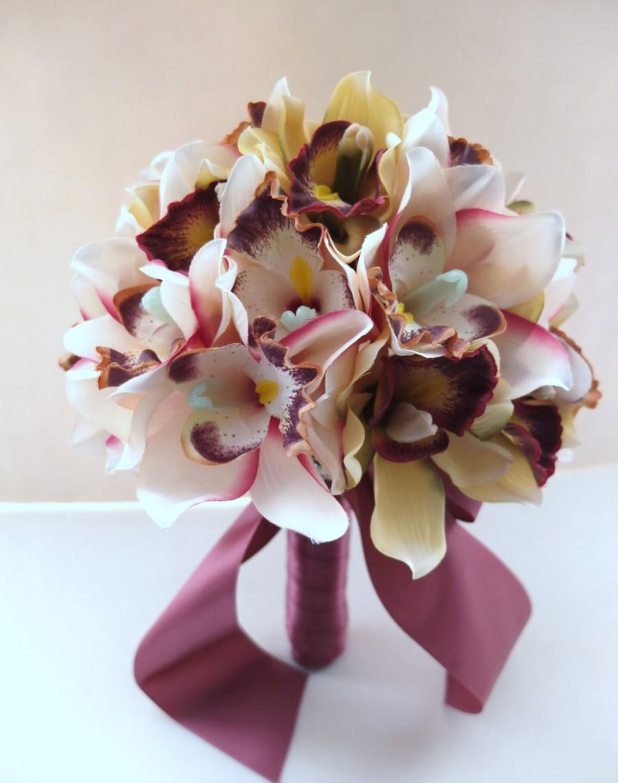 Hochzeit - Blush Pink Cymbidium Orchid  bouquet, Bridal Bouquet, Wedding Bouquet, bridesmaid bouquet, toss bouquet