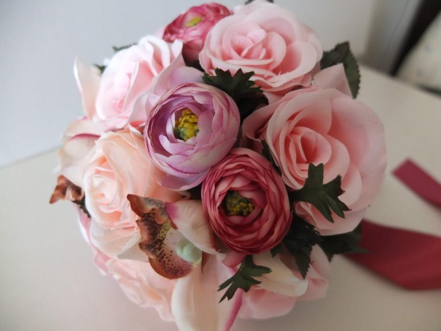زفاف - Wedding bouquet, Blush Pink Rose and Ranunculus Bridal bouquet, Bridesmaid bouquet