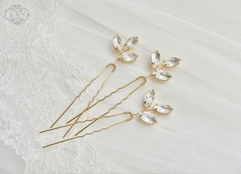 Свадьба - Crystal Hair Pins, Wedding Hair Pins, Gold Leaf Hair Pins, Bridal Hairpins, Rhinestone Hairpins, Crystal Bridal Hair Accessories, Gold Pins