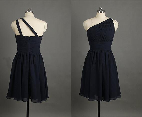 Mariage - Affordable One Shoulder Black Short Bridesmaid Dresses KSP313