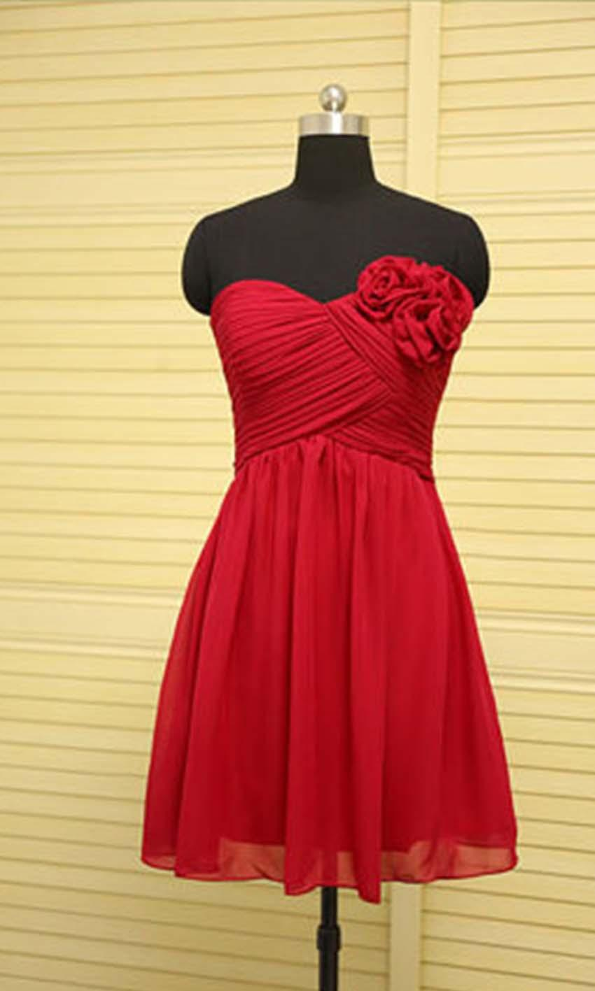 Hochzeit - Pretty Sweetheart Short Red Bridesmaid Dresses KSP384