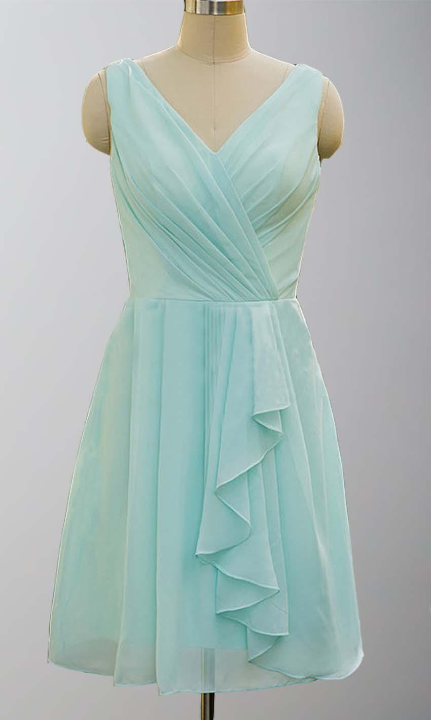 Wedding - Pretty Mint V-neck Ruffled Short Bridesmaid Dresses KSP138