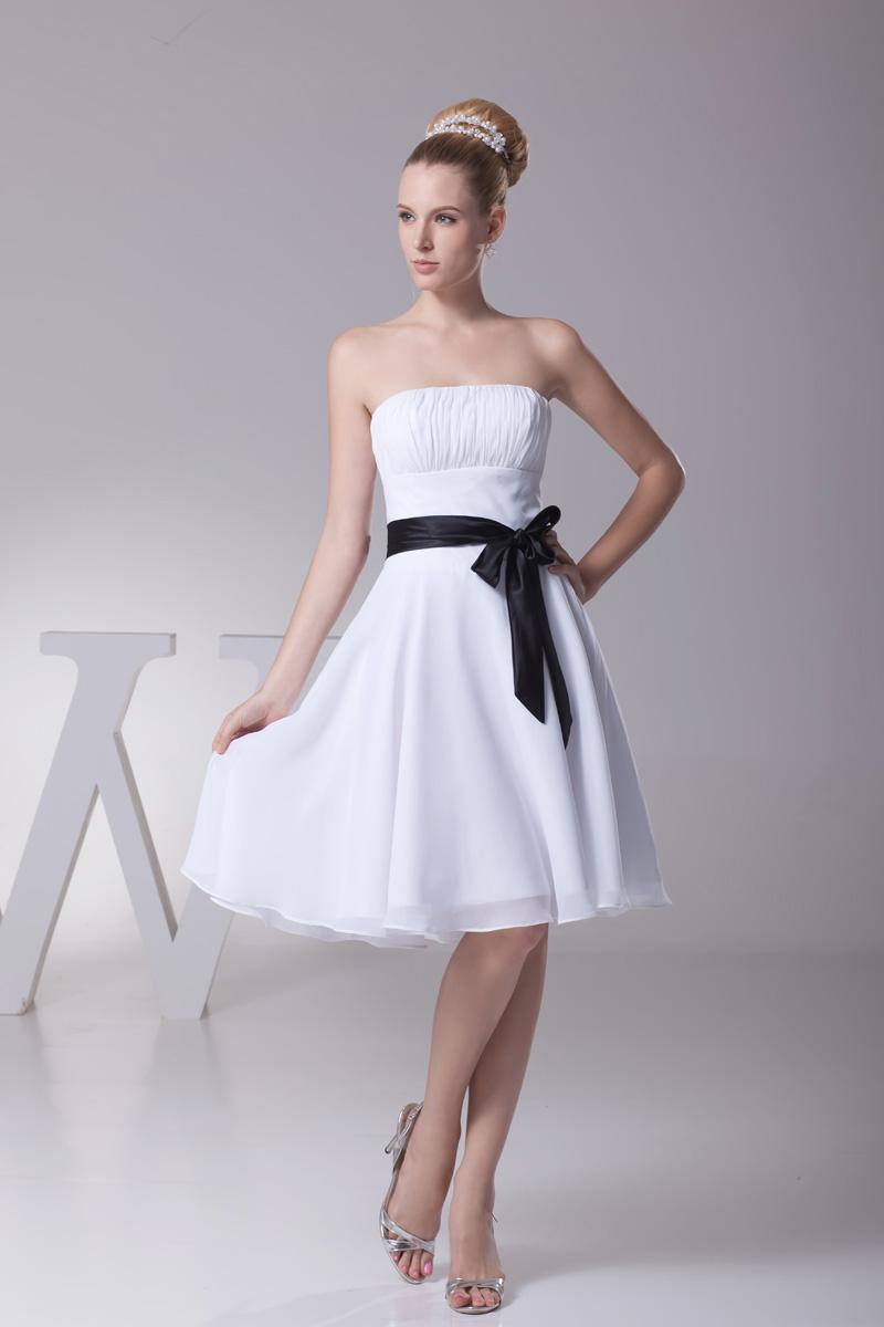 Classic short strapless white and black short bridesmaid for Short white summer wedding dresses