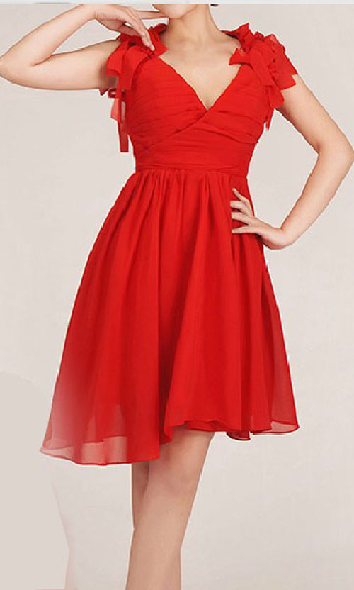 Wedding - Red Chiffon V-neck Floral Open-Back High Low Bridesmaid Dresses KSP006
