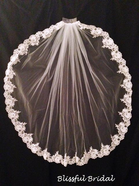 Hochzeit - Lace Edge Beaded Wedding Veil, Lace Mantilla Wedding Veil, Fingertip Lace Edge Veil, Lace Edge Bridal Veil, Mantilla Style Wedding Veil
