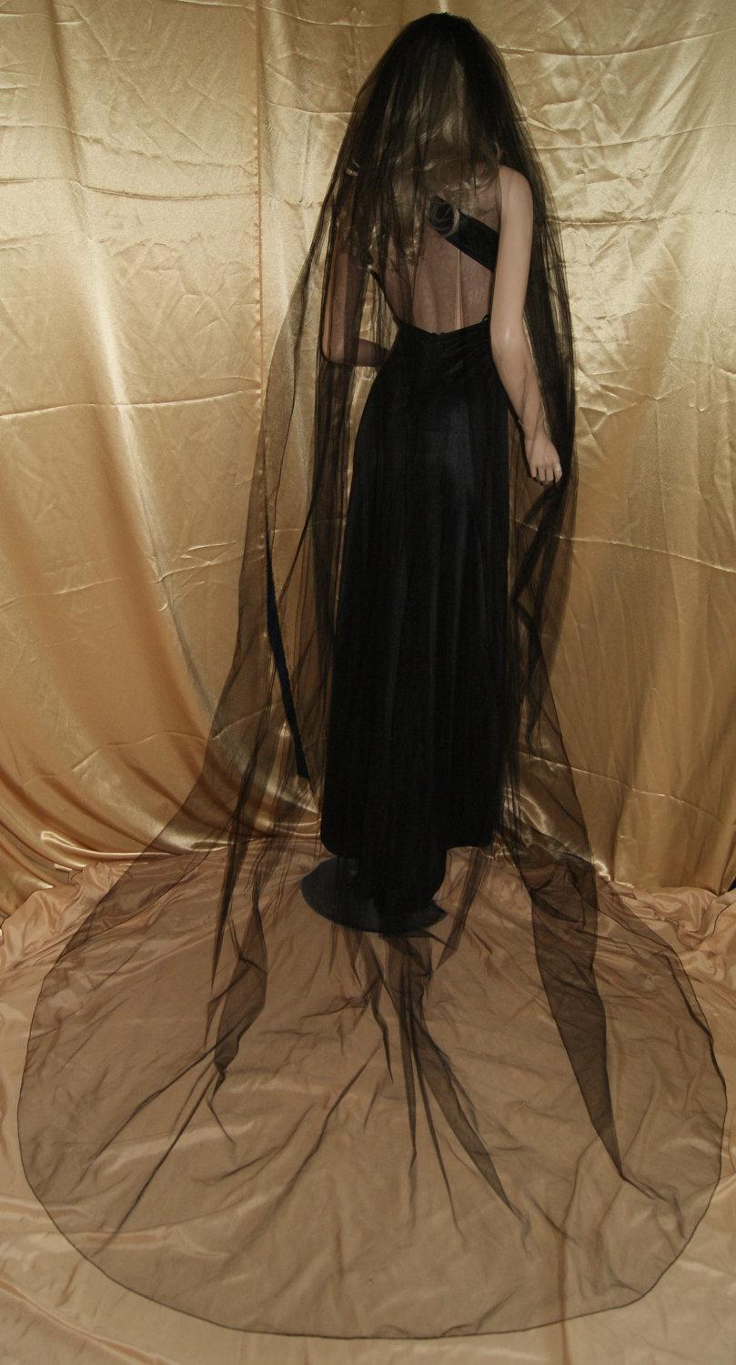 """Wedding - Gothic Black Red wedding veil Cathedral costume  mourning Single tiers 108"""" width 108"""" length pencil edge"""