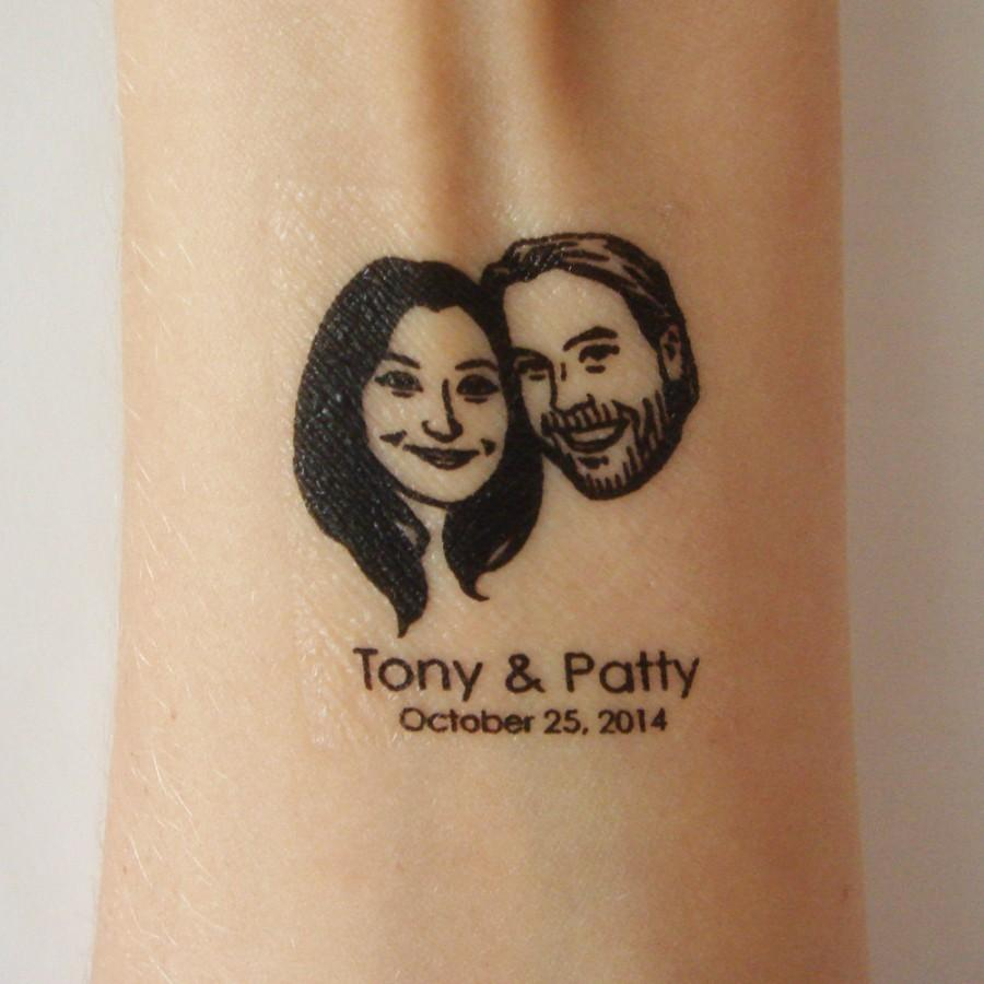 Personalized Temporary Tattoo Favor / Custom Wedding Portrait / For ...