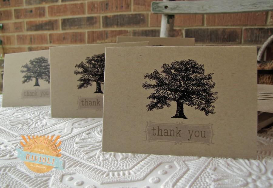 Hochzeit - Vintage Oak Tree Thank You Notes set of twenty