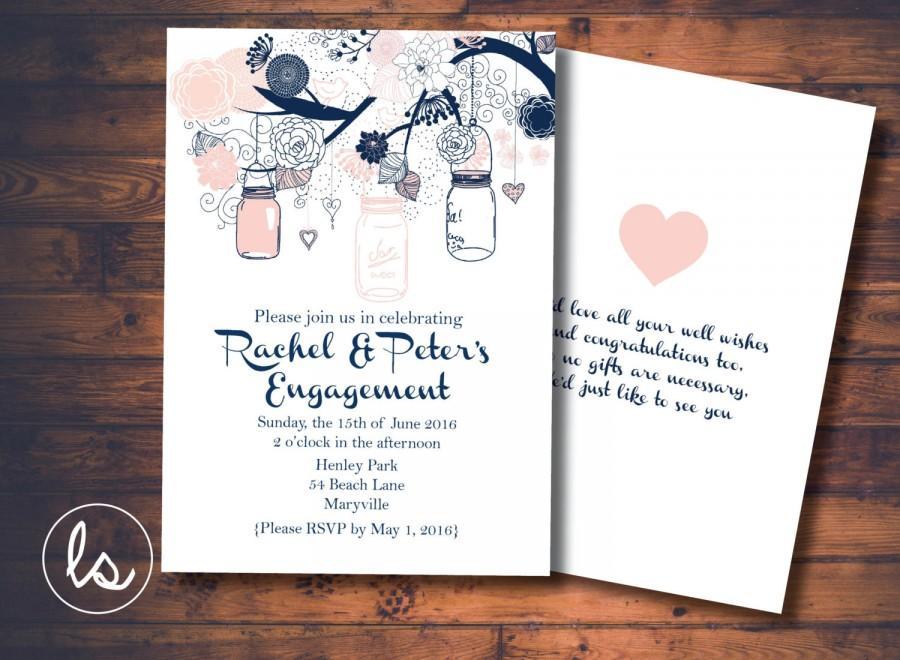 navy and pink mason jar engagement invitation diy printable