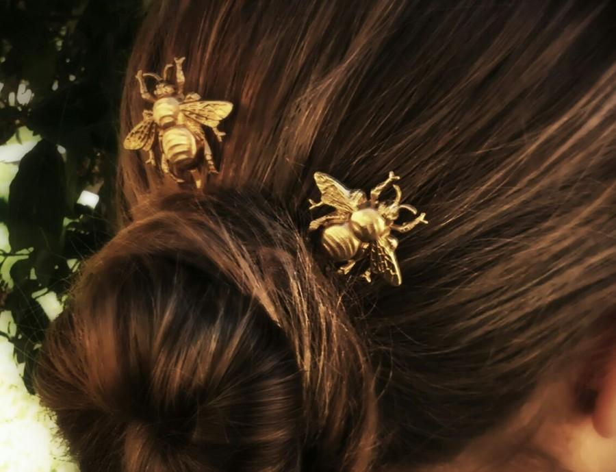 Mariage - FLASH SALE Bee Hair Pin Gold Bumble Bee Bobby Pins Brass Hair Pins Bee Hair Clips