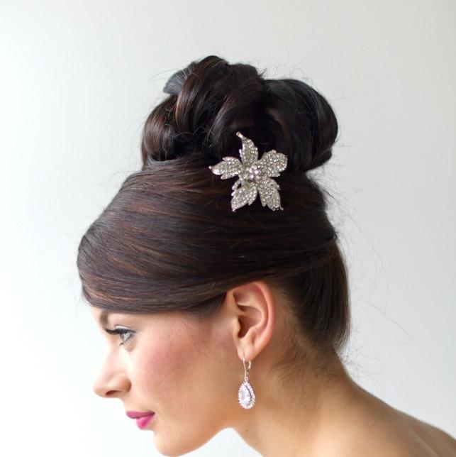 Свадьба - Bridal Hairclip, Crystal Hairclip, Wedding Hair Accessory, Bridal Hair Adornment, Crystal Hair Flower